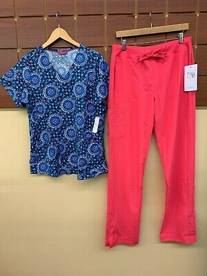 $6 • Buy NEW Pink Print Scrubs Set With Medium Top & Barco One Medium Tall Pants NWT