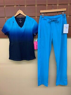 $16.50 • Buy NEW Turquoise Print Scrubs Set With Koi Small Top & Barco One Small Tall Pants