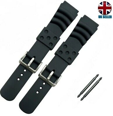 BLACK RUBBER DIVER WATCH STRAP BAND 20 .22.24MM Citizen Seiko Orient Omega Oris • 3.99£