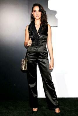 $725 • Buy Chanel Black Satin Ruffle Sleeveless Tuxedo Jumpsuit Size 34/ US 2 $3,499