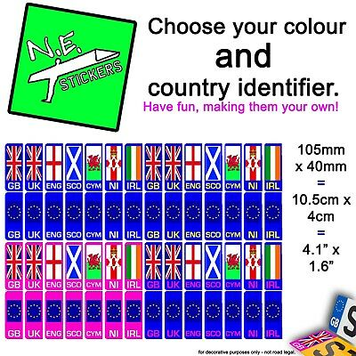 Car Number Plate Vinyl Sticker (s) Choose Your Country GB UK EU IRL SCO NI CYM • 0.99£