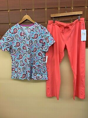 $0.99 • Buy NEW Coral Print Scrubs Set With Vera Bradley XL Top & Barco One XL Petite Pants
