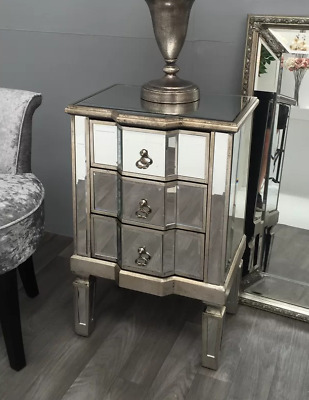 £199.90 • Buy Mirrored Bedside Table Vintage Glass Furniture Venetian Side Cabinet 3 Drawers