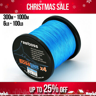 AU16.95 • Buy ReelBoss Blue PE Braid Fishing Line 6lb 20lb 30lb 40 50lb 100lb, 300m 500m 1000m