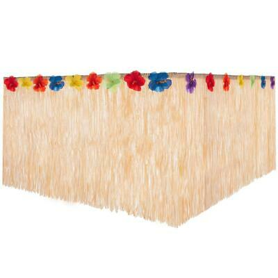 HAWAIIAN STRAW TABLE SKIRT 276 X 75CM HULA LUAU BEACH TROPICAL BBQ PARTY DECOR  • 7.99£