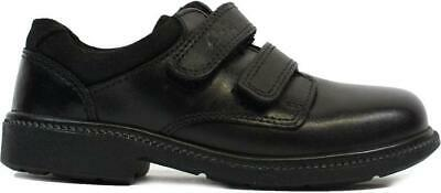Clarks Deaton Infant Black Leather Boys Rip Tape School Shoes • 31£