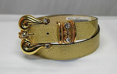 $ CDN86.45 • Buy BB Simon Genuine Leather Crystals Studded Gold Belt Size S