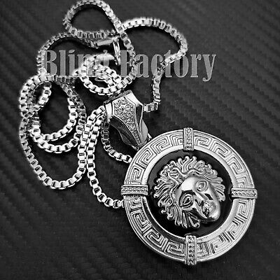 £11.64 • Buy Silver Plated Medusa Head Medal Pendant & 3mm 30  Box Chain Hip Hop Necklace