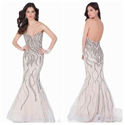 £358.75 • Buy NWT Terani 621GL1909 Pagent Lace Strapless Marmaid Gown Silver-gunmatel Msrp$988