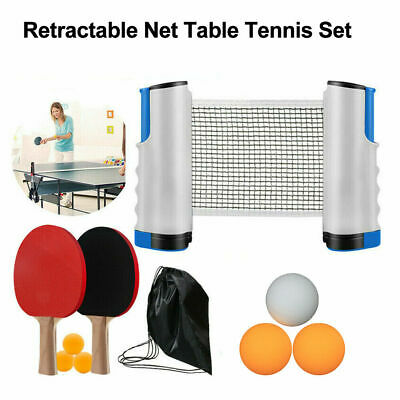 AU22.89 • Buy Instant Table Tennis Kit Ping Pong Set Retractable Net Rack + 2 Bats + 6 Balls
