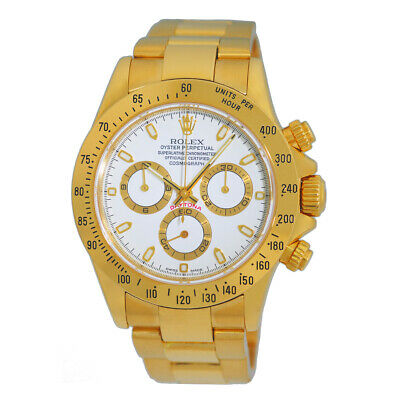 $ CDN44167.86 • Buy ROLEX 18K Yellow Gold 40mm Daytona Cosmograph 116528 White Dial Warranty MINTY