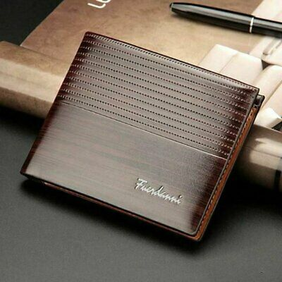 AU9.99 • Buy Mens PU Leather Wallet Brown Business RFID Blocking Credit Card Holder