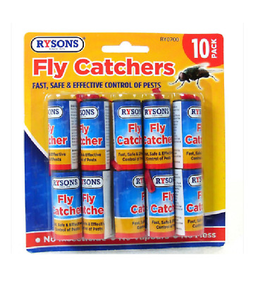 £2.49 • Buy 10 X Fly Catchers Insect Sticky Killer Tape Strip Paper Windows Doors Pest New