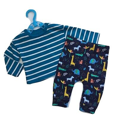 Baby Boy Clothes 0-3 Months Teal Stripy Top Safari Animal Print Bottoms Outfit • 1.75£