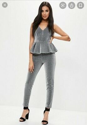 Missguided Metallic/ Silver Glitter Jumpsuit Size 10 • 2.99£