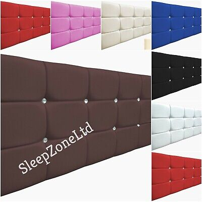 Cube Bed Headboard In Faux Leather Height 26  S Double King SK Diamante HQ UK  • 29.95£