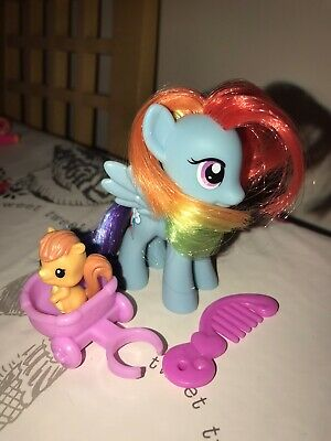 My Little Pony G4 Wave 1 2011 Rainbow Dash Figure Complete Pet Carriage Comb • 20£
