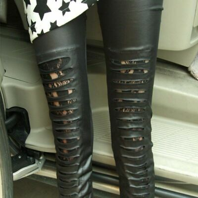 Fitness Striped Hole Fake Leather Pants Ripped Punk Floral Lace Leggings Stre... • 15.14£