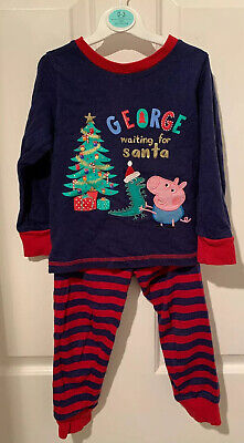 "Mothercare George Pig ""waiting For Santa"" Pyjamas Age 2-3 Great Condition • 0.99£"