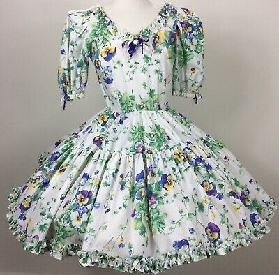 $85 • Buy Square Dance Dress Call It Fancy Pansy Floral Print Tiered Ruffles