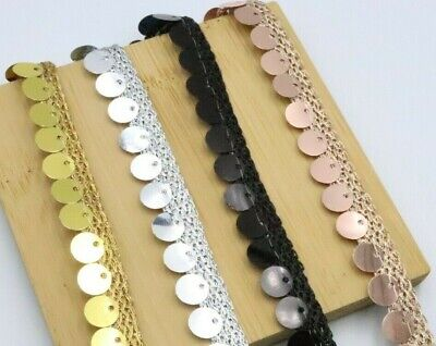 3X Yard Sequence Edging Lace Trim Metallic Colour Embellishment And Decoration • 3.99£