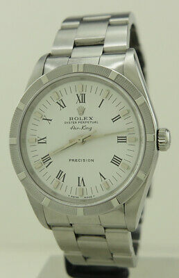 AU6000 • Buy Rolex 14010 Steel 34mm White Dial Engine Turned Bezel Oyster Perpetual Air-King