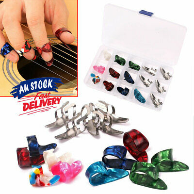 AU11.99 • Buy 15PCS+1 BOX Thumb Finger Nail Colorful Plectrum Banjo Guitar Bass Guitar Picks