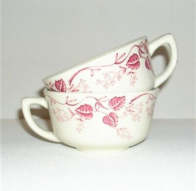 $8.95 • Buy Pair Of Sweet Vintage Mayer China Pembroke Small Tea And Coffee Cups, Burgundy