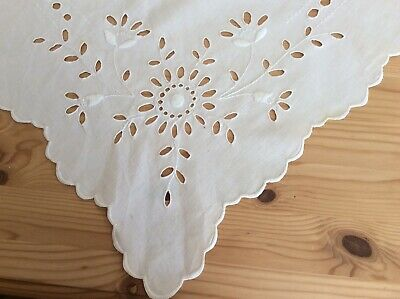 Antique Handworked French Cotton Tablecloth Pierced Work Embroidery C1920 • 0.99£