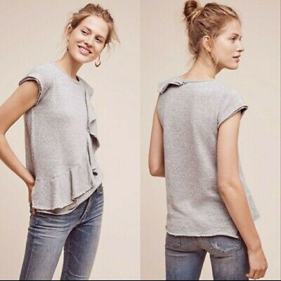 $ CDN34.93 • Buy Anthropologie Deletta Top Sweater Size Large Womens Gray Ruffled Choral New