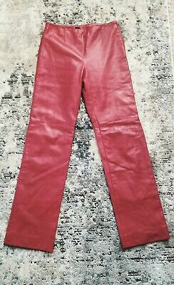 $ CDN13.94 • Buy  Authentic Leather  Pants Size 8 Us Cherry Red