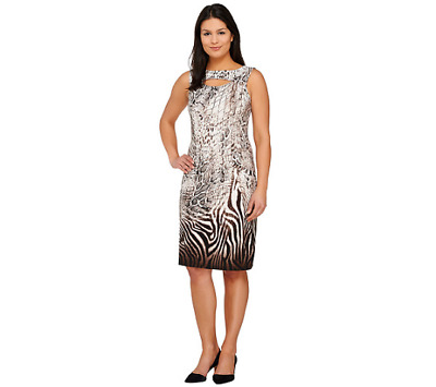 $25.34 • Buy  George Simonton Animal Print Milky Knit Dress With Keyhole Detail Size S Brown