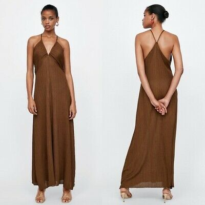 $33 • Buy ZARA Viscose Ribbed Knit Dress NEW WITH TAG $70 Copper Brown Size Medium