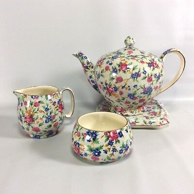 $ CDN374.94 • Buy Royal Winton Grimwades Old Cottage Chintz TeaPot Tea Tile Cream Sugar Set