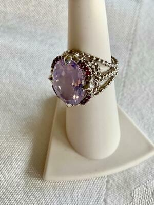 $149 • Buy Sparkly Judith Ripka Sterling Large Oval Lavender Quartz Amethyst Ring Size 6