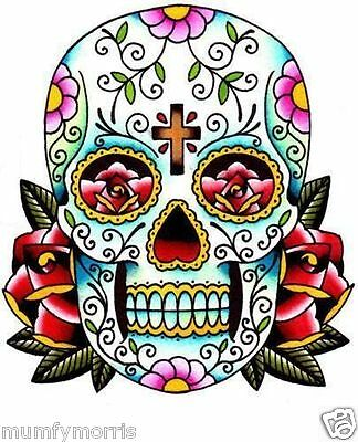 £2.25 • Buy Day Of The Dead Sugar Skull Tattoo Iron On T Shirt Transfer A5 Number 4