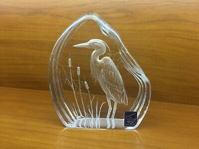 Capredoni Lead Crystal Heron Paperweight By Dartington Crystal C1980 • 11.43£