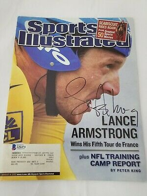 Lance Armstrong Signed Sports Illustrated Cover 8/4/03 BAS Cycling Tour France • 72.35£