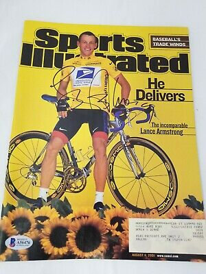 Lance Armstrong Signed Sports Illustrated Cover 8/6/01 BAS Cycling France  • 72.35£