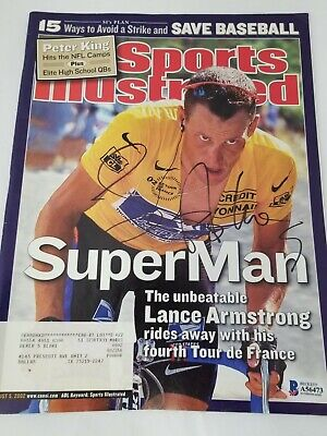 Lance Armstrong Signed Sports Illustrated Cover 8/5/02 BAS Cycling Tour France • 72.35£
