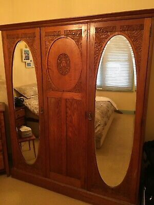 AU350 • Buy Antique Furniture Wardrobe Light Oak Colour Some Were And Tear Original Lining A