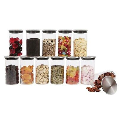 Small Glass Canister With Stainless Steel Lid, Airtight Sealing, Mini Spice Jars • 13.95£