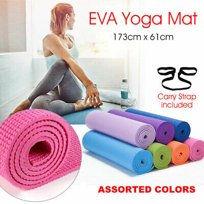 AU37.90 • Buy EVA Foam Yoga Mat Durable Thick Pad Non-Slip Exercise Pilate Fitness Gym Strap