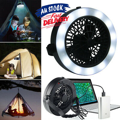 AU25.36 • Buy Portable 3 In 1 LED Fan Camping Rechargeable For Outdoor USB Tent Lamp With Hook