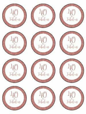 40 & Fabulous 40th Birthday Rose Gold Edible Cupcake Toppers Wafer Or Icing X 12 • 3.49£