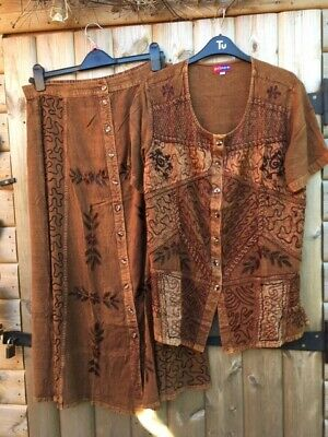 Boho, Hippy, Ethnic,brown Embroidered Skirt And Blouse In Medium NWOT. En Trend • 8.99£