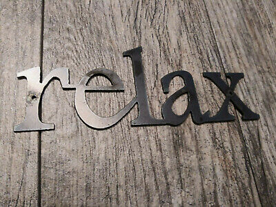 RELAX Metal Wall Art Word Quote Metal Sign Decor, Steel RUSTIC Crafts Supplies  • 9.91£
