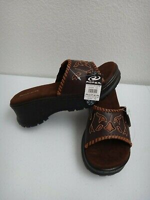$59.99 • Buy ROPER Women's Open Toe Mules Platform Wedges Brown Leather Lace & Inlays Size 10