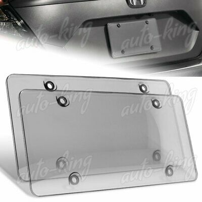 $7.34 • Buy 2 X Smoke Tinted Bubble Shield Protector License Plate Frame Cover Front/rear