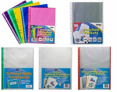 Punched Punched Pockets Filing Clear Display Sleeves Ring Binders • 6.95£